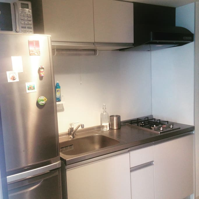 Kitchen with a huge fridge