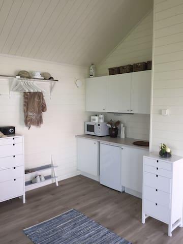 Pentry med 2 kokplattor, micro, vattenkokare, kylskåp med frysfack, diskho, övrig basutrustning för 3-4 pers