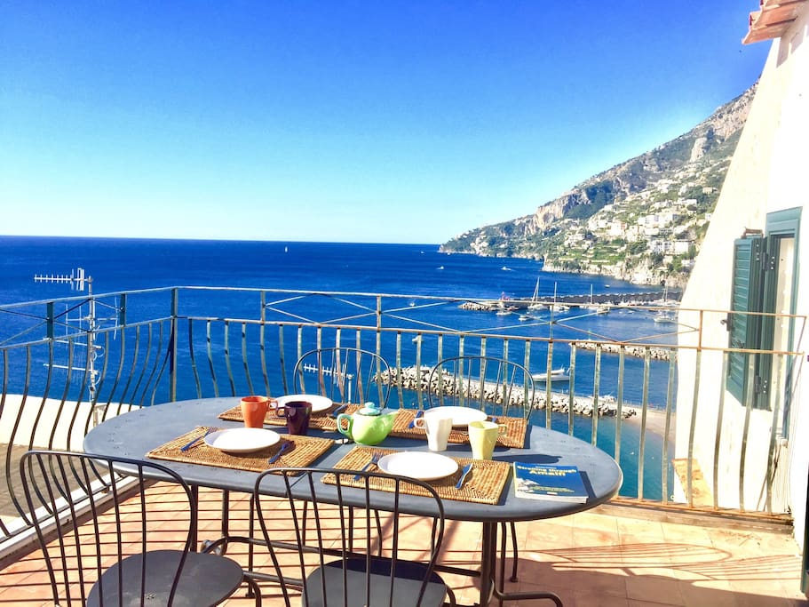 West side terrace . Enjoy a meal over the ocean with stunning view of Amalfi