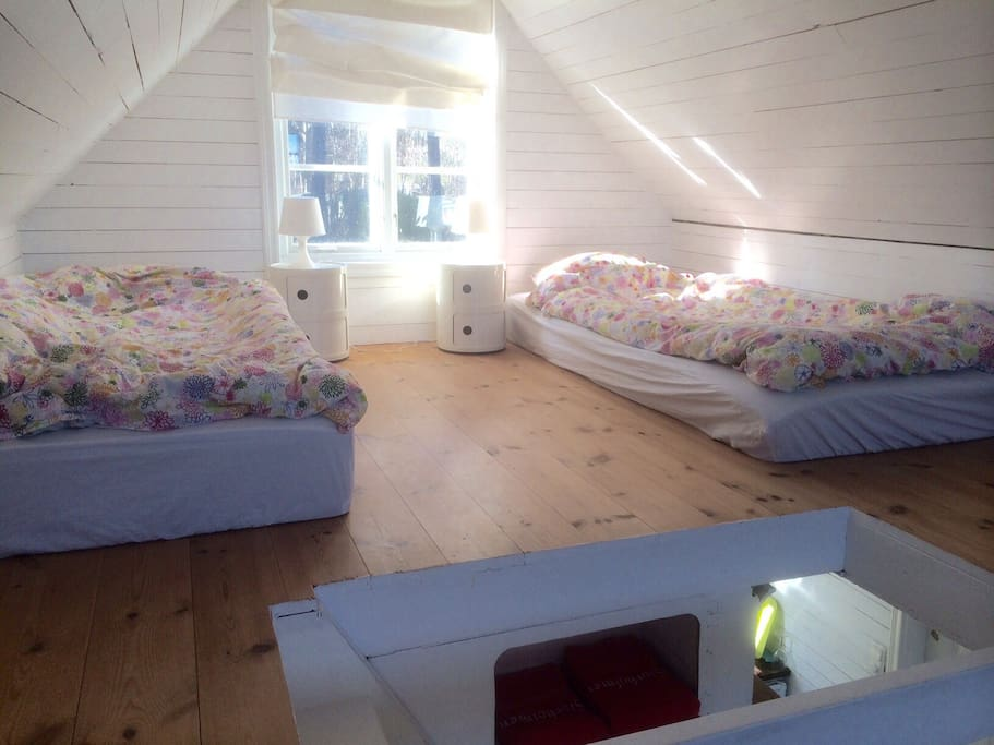 The loft with two beds that can be arranged as you wish