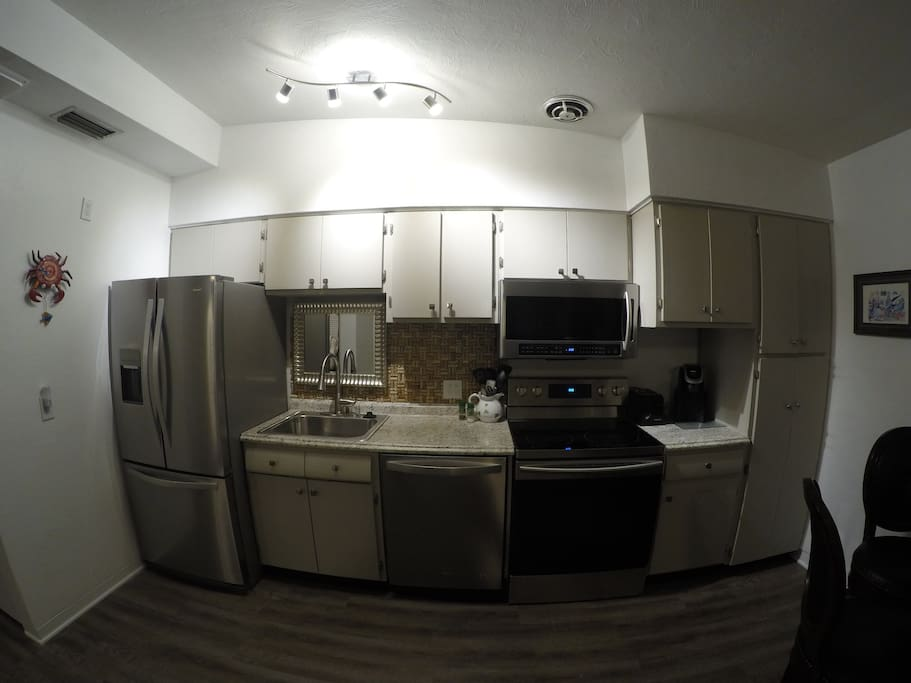 Full size stainless appliances with keurig