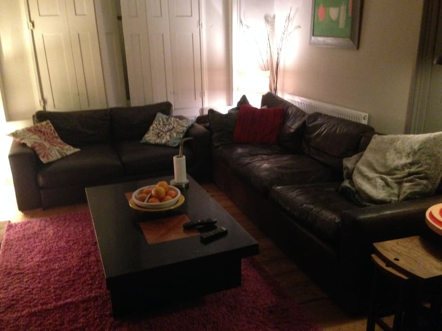 Comfortable sofas and a cosey living room