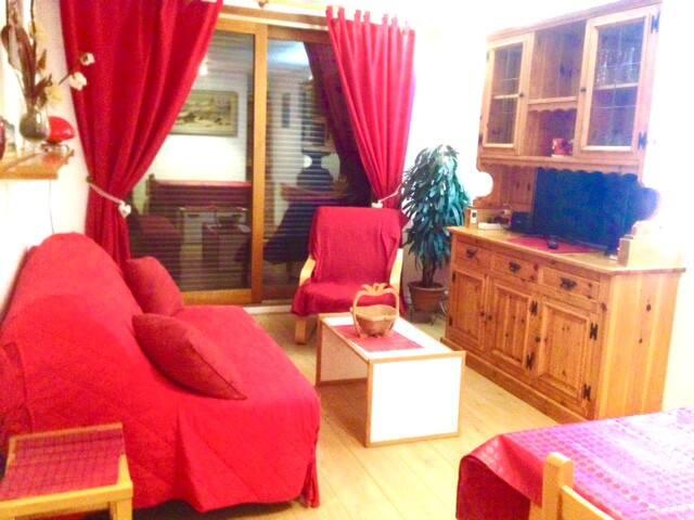 appartement tout confort au pied des pistes balcon - Villarembert - Apartment