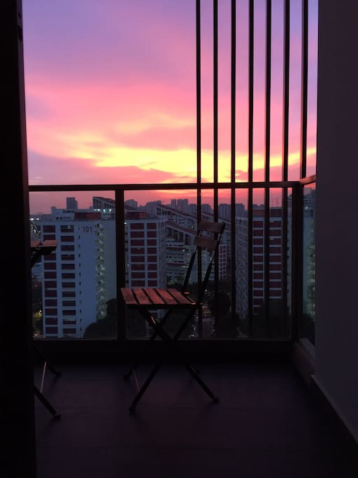Beautiful sunset view from balcony