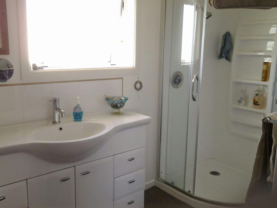 Shower vanity,separate toilet, laundry.