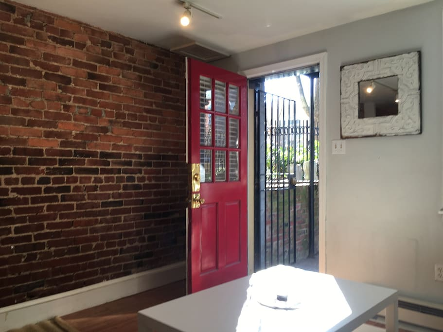 Private entrance into High English Basement Apartment in Historic Dupont.
