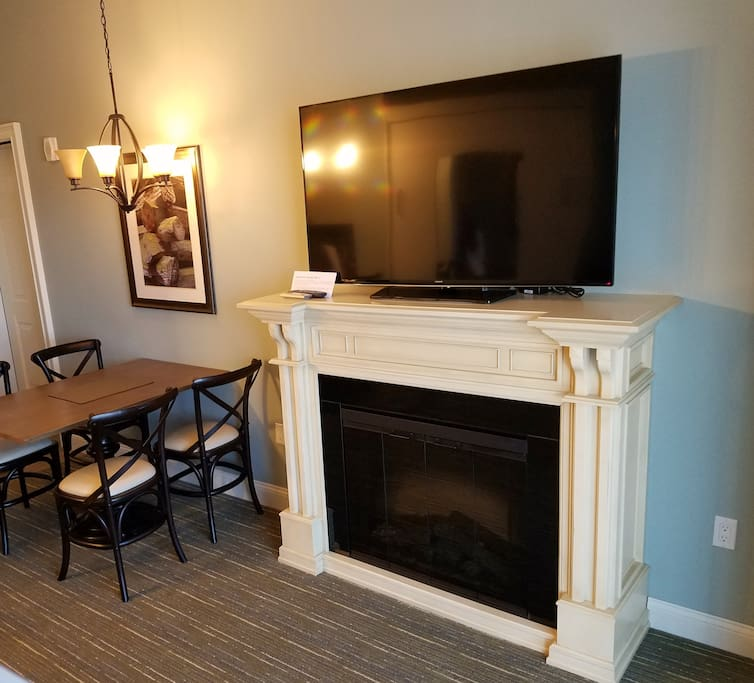 View of Fireplace and TV