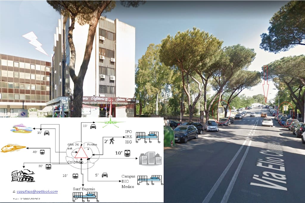 50mt da IFO - 2mt bus stop to EUR (10') and then Rome centre (30')