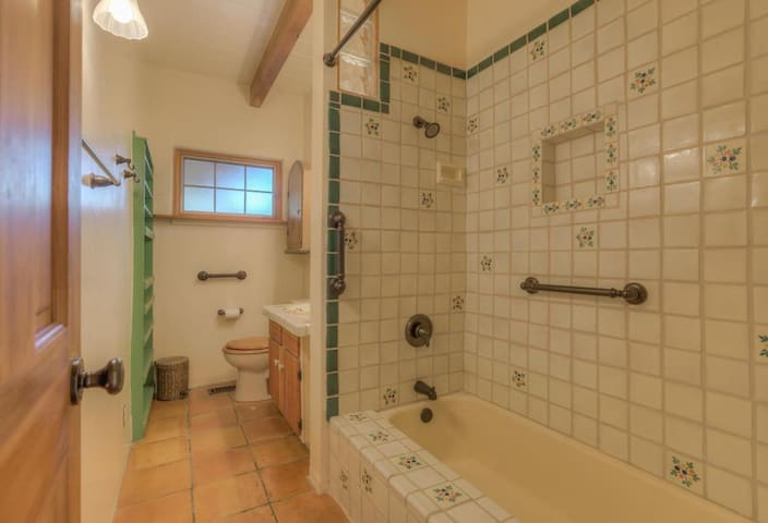 The guest bathroom has traditional Mexican talavera tiles and is located straight across the hall from the guest bedroom. It will be your guest bathroom and is strictly used by guests only.