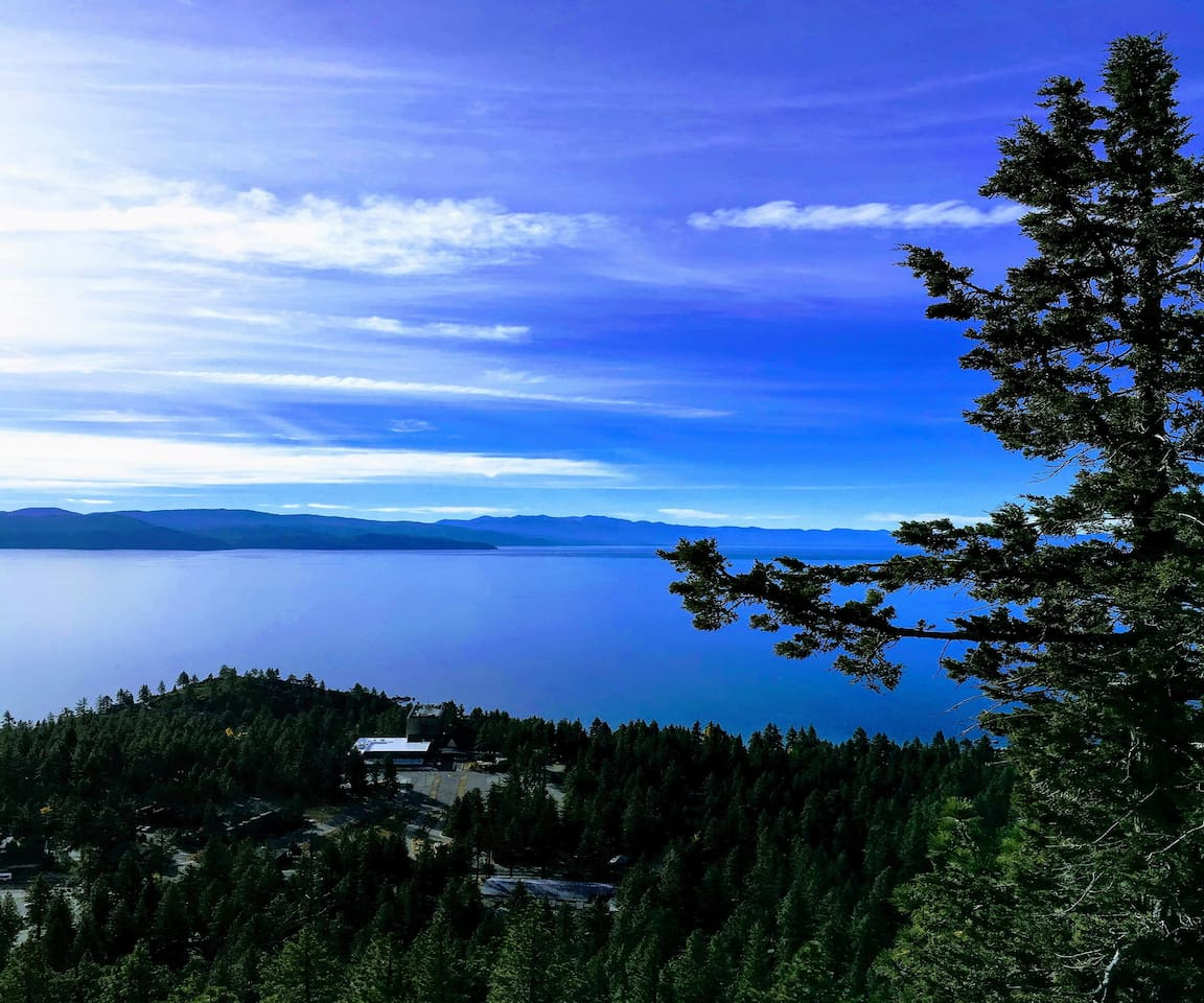 Enjoy A Short Hike to our Historical Fire Look Out at Crystal Bay Point.  We are located mid-mountain.