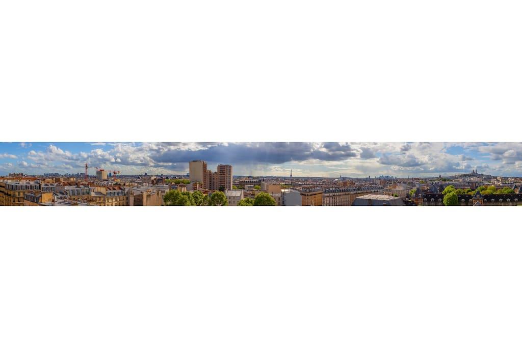 Panorama à 180° vu du balcon / 180° Panorama from the balcony
