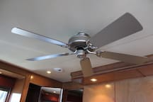 Ceiling Fans inside and outside.