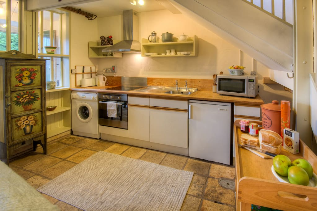 The kitchen in Grooms Cottage, Scottish Borders. A pretty vintage-inspired cottage.