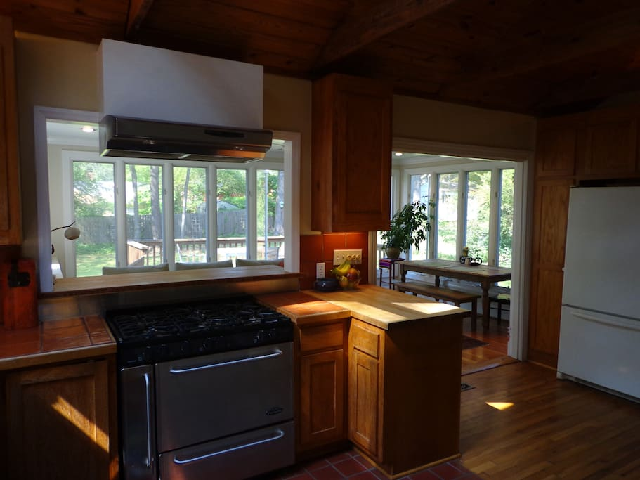 Kitchen, With Pass-Through Counter to Sunroom