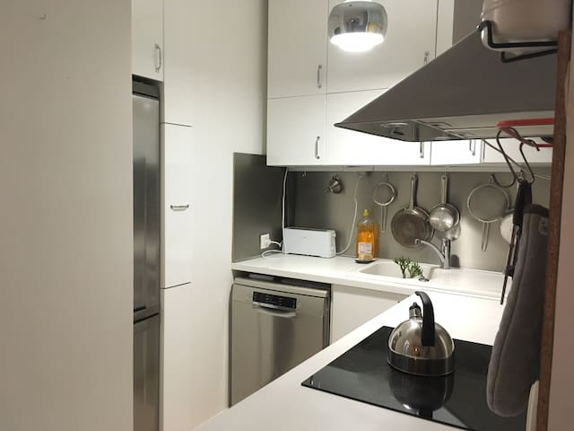 The kitchen with dish machine, freeze, induction plate and oven,