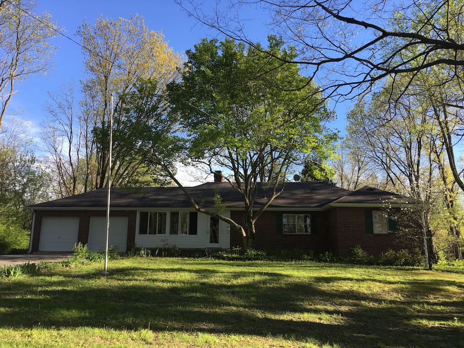 Three bedroom ranch home on a deep wooded lot.