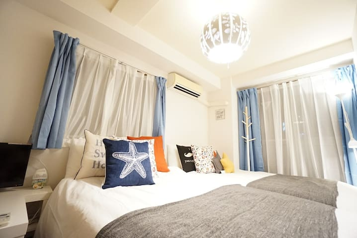 Near Namba sta, 2 rooms, 2bath rooms , 8ppl/7193-1