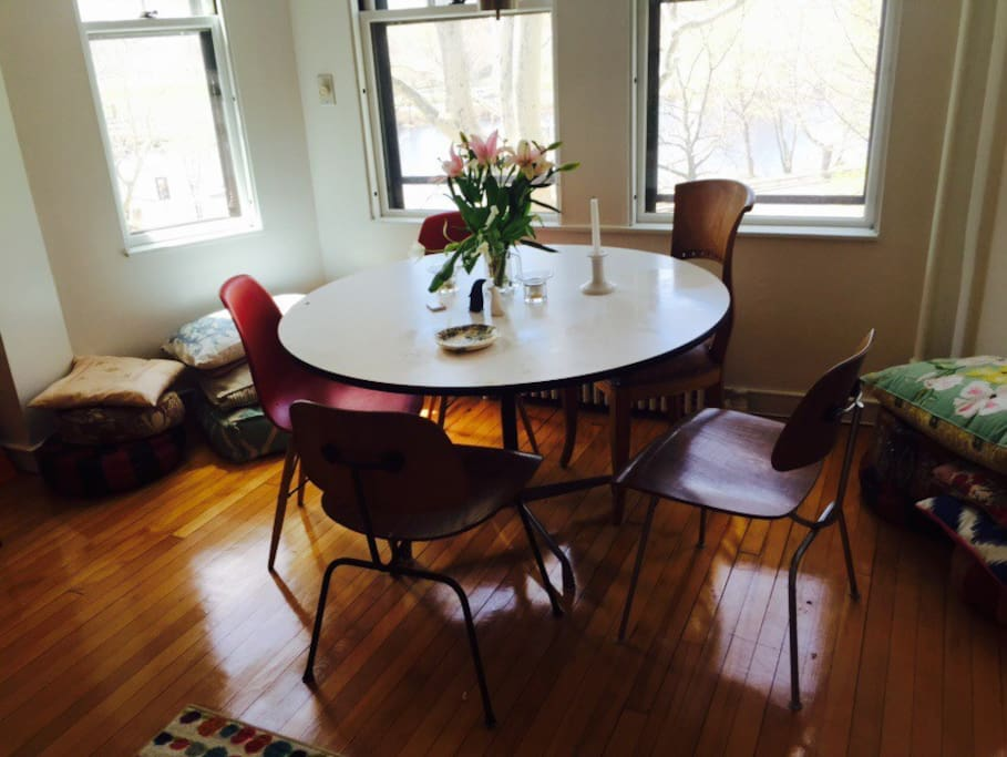 Dining room with glorious views overlooking the charles river