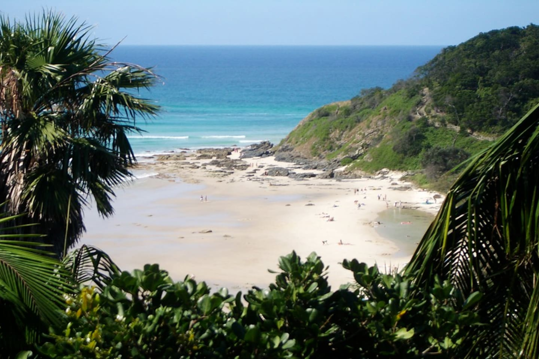 view of wategos beach from deck & bedroom