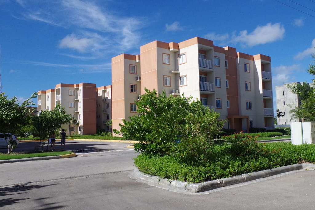 The view of the apartment complex.