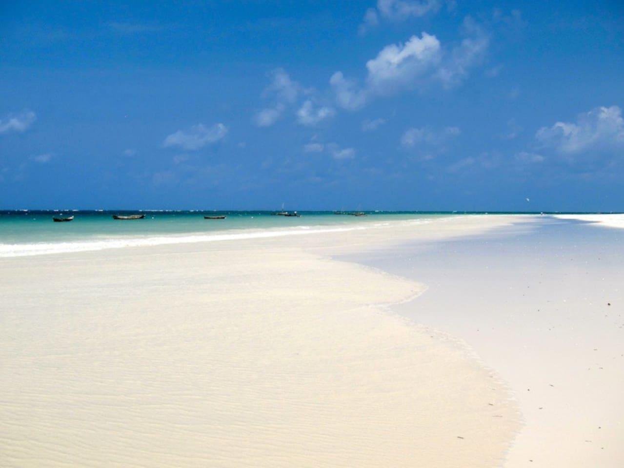 Beautiful pristine Galu Beach in front of our beach property