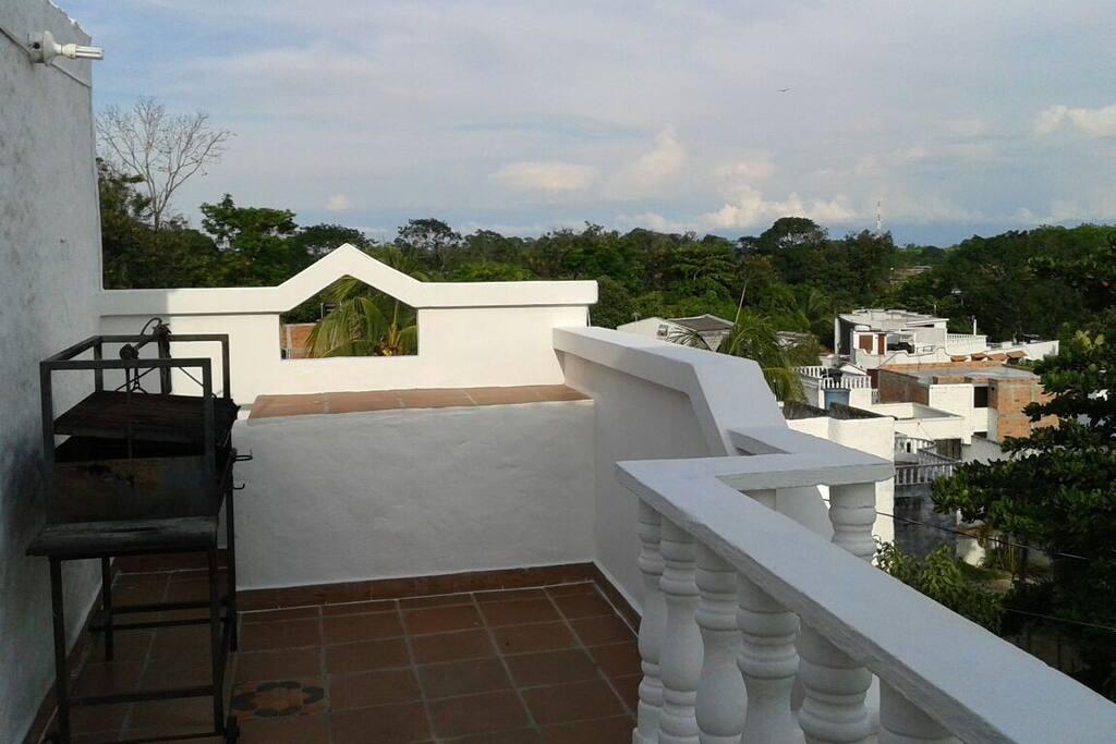 Vista desde la terraza y zona de Bbq