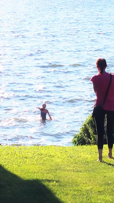 swimimng in lake at access point