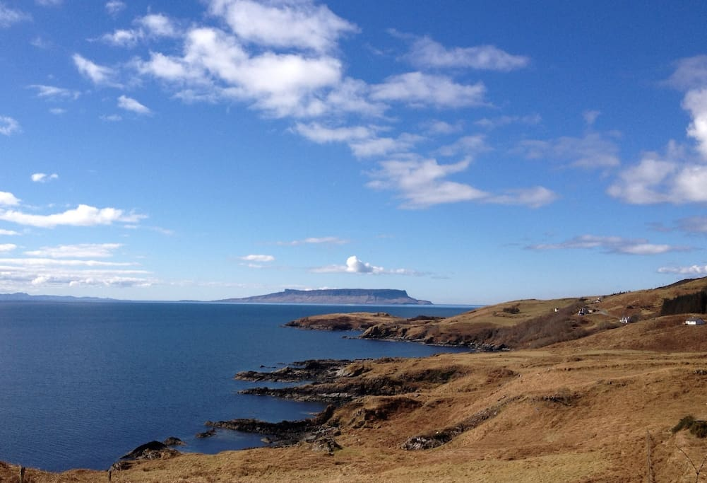 The first view of Eigg on the way to Aird