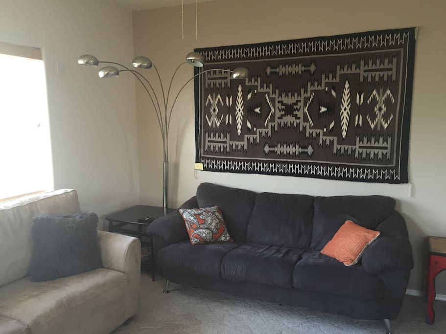 Sofa to the left is a pull out full bed.