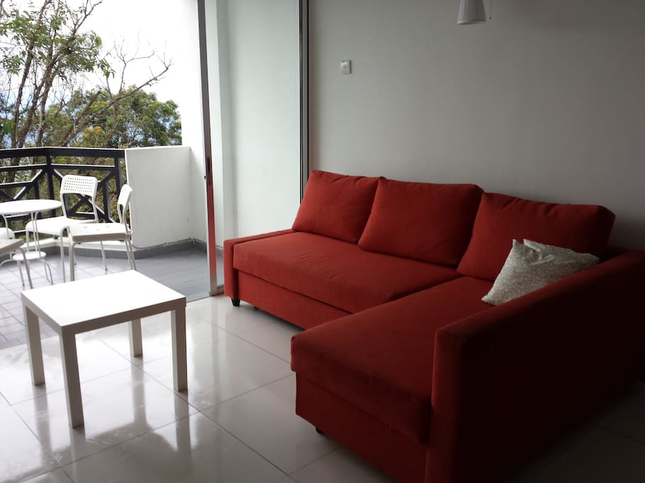 From living hall, also can see the fantastic hill view LSharp sofa with Led 40 inch TV.witj Astro NJOI