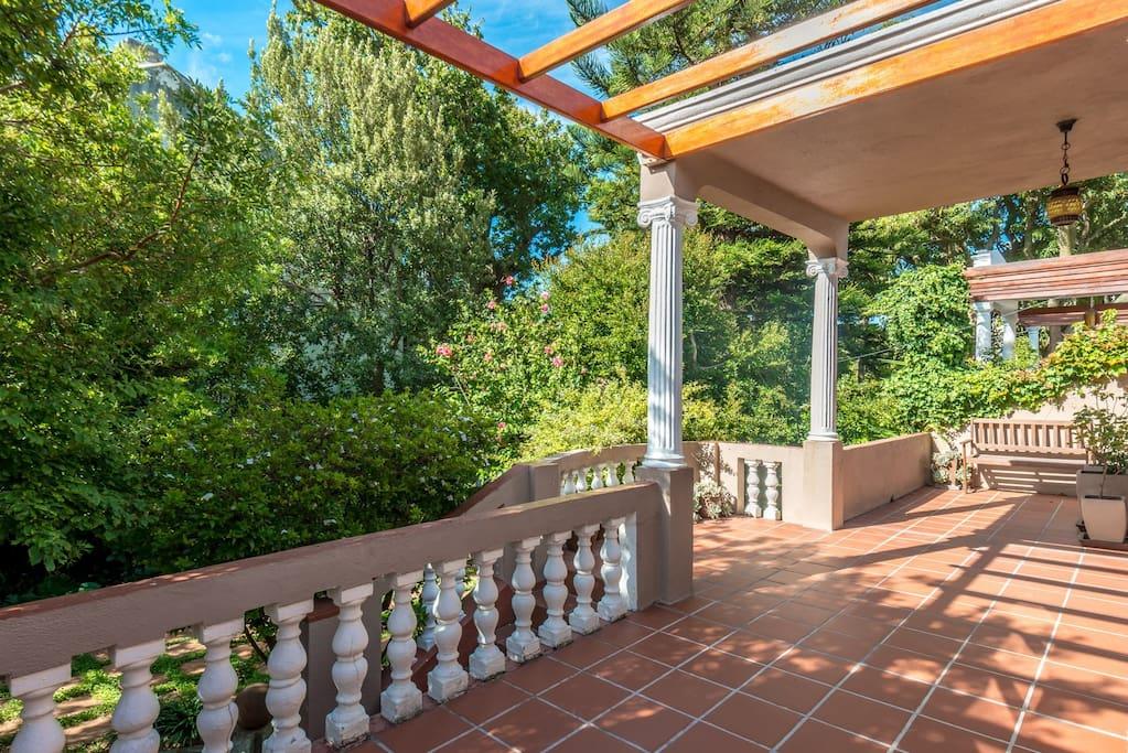 Spacious veranda with garden view