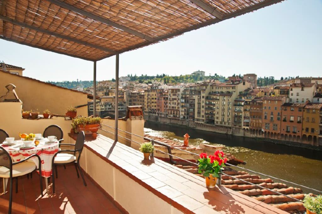 Old Bridge Apt With Stunning View Terrace Apartments For Rent In Florence Tuscany Italy