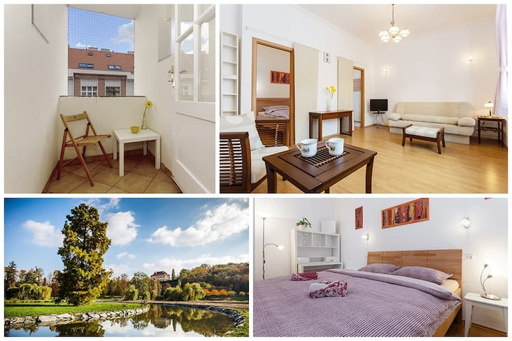 Bright flat close to the airport and Prague castle