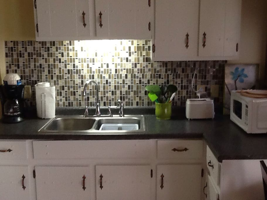 Fully equipped kitchen. Coffee maker. Toaster & microwave. Gas Stove &  New Refrigerator