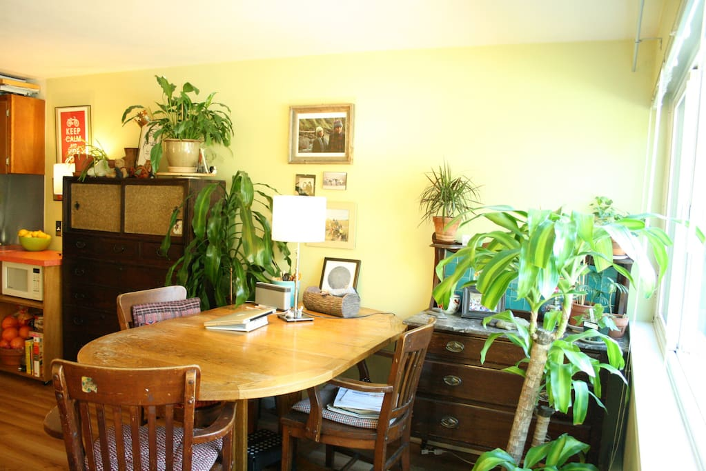 View of dining space. Dine off my first self designed table!