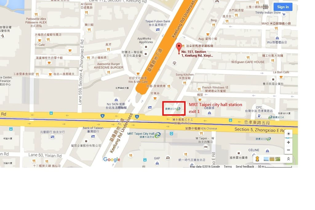 MRT Taipei city hall A 3 mins for walk/Xinyi/信義區