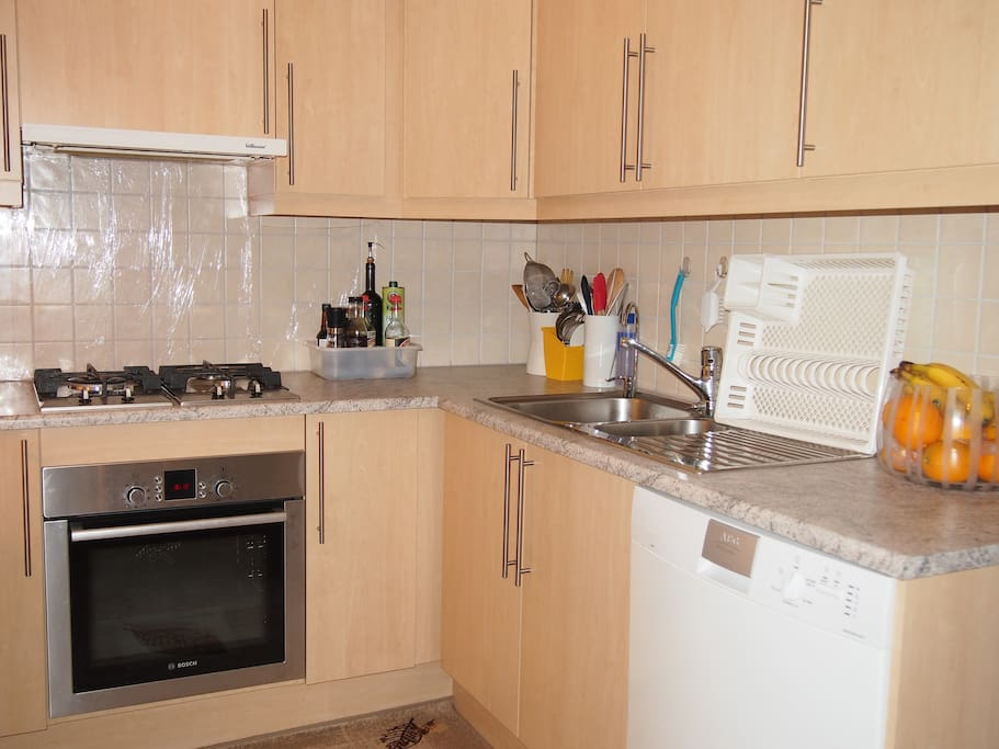 Kitchen with gas stove and electric oven and dishwasher