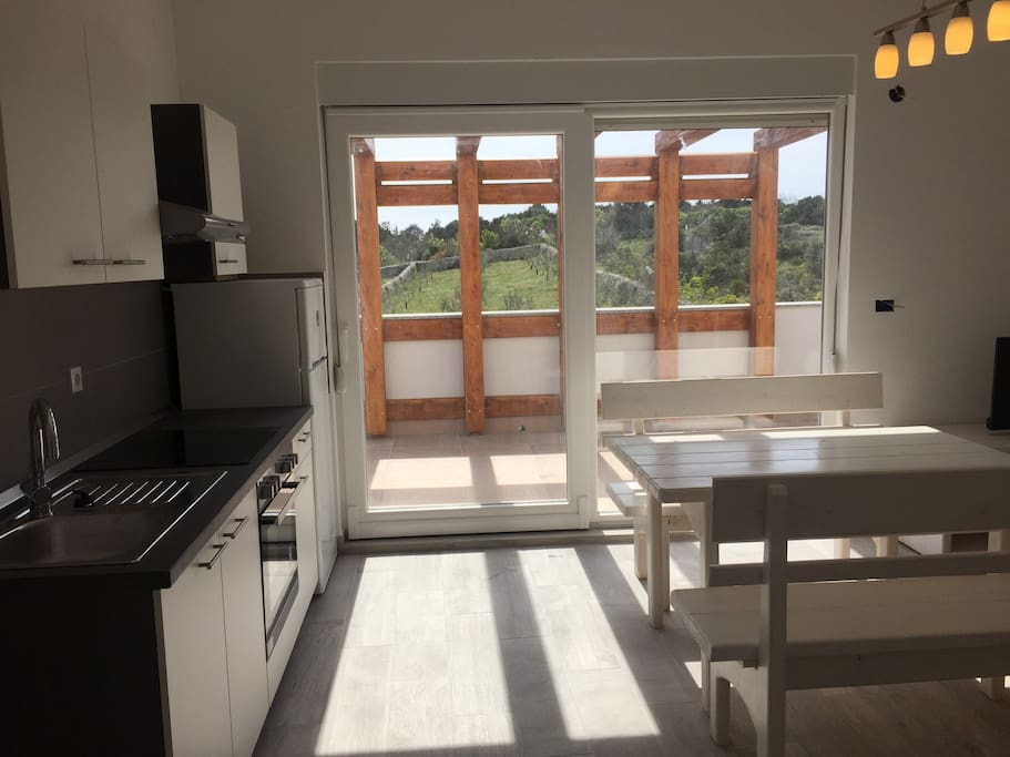 Modern kitchen with oven and glass-ceramic hob and fridge with freezing. From the terrace you see beautiful olive grove in Novalja.