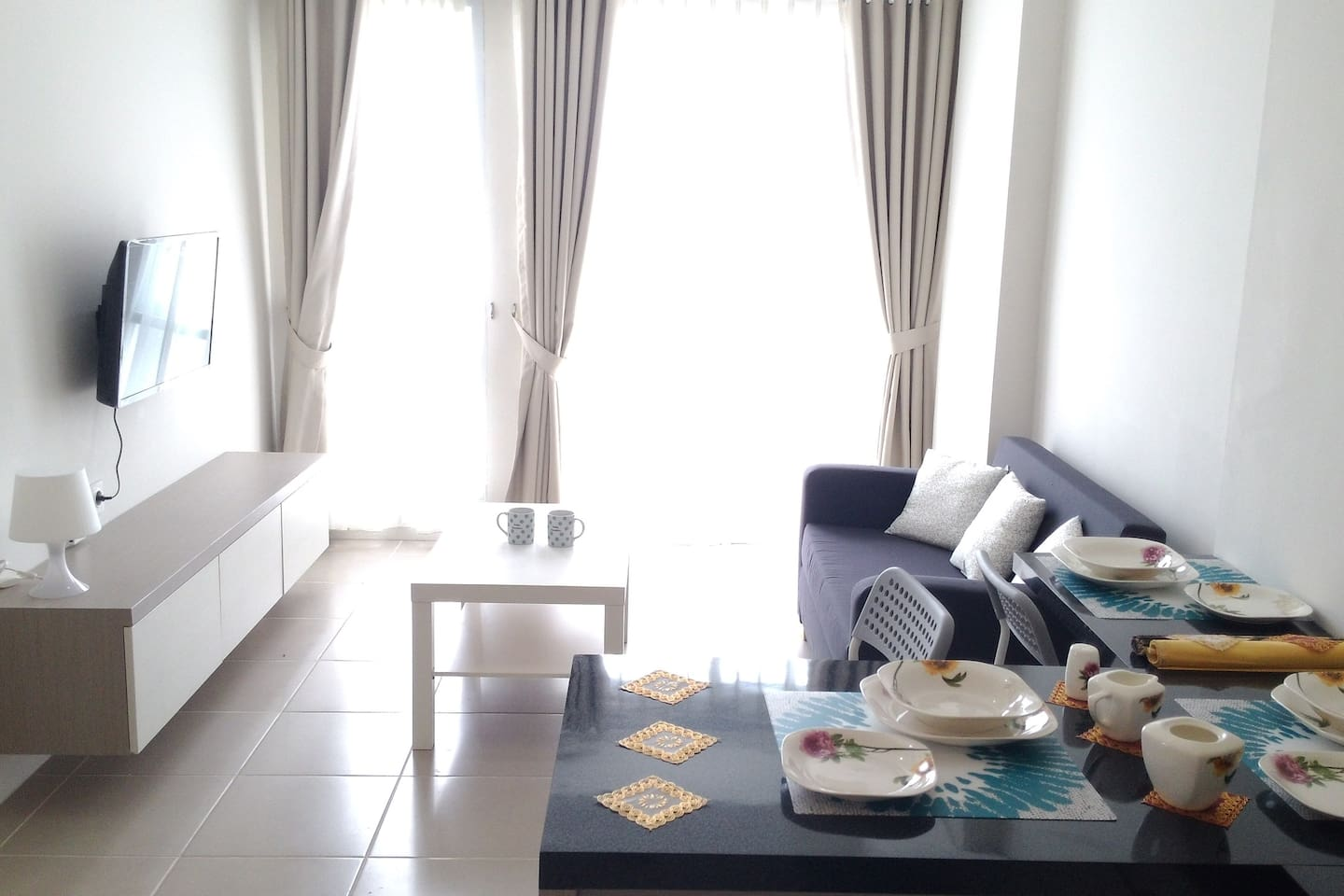 Living room with sunlight-blocking curtains