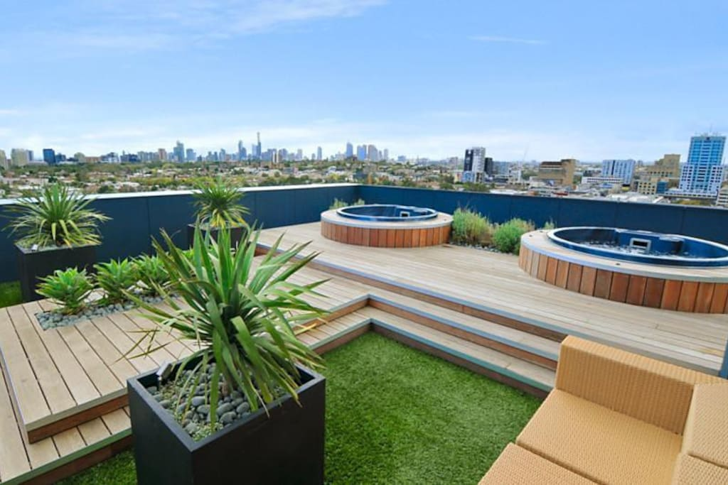 Hot tubs on the rooftop!