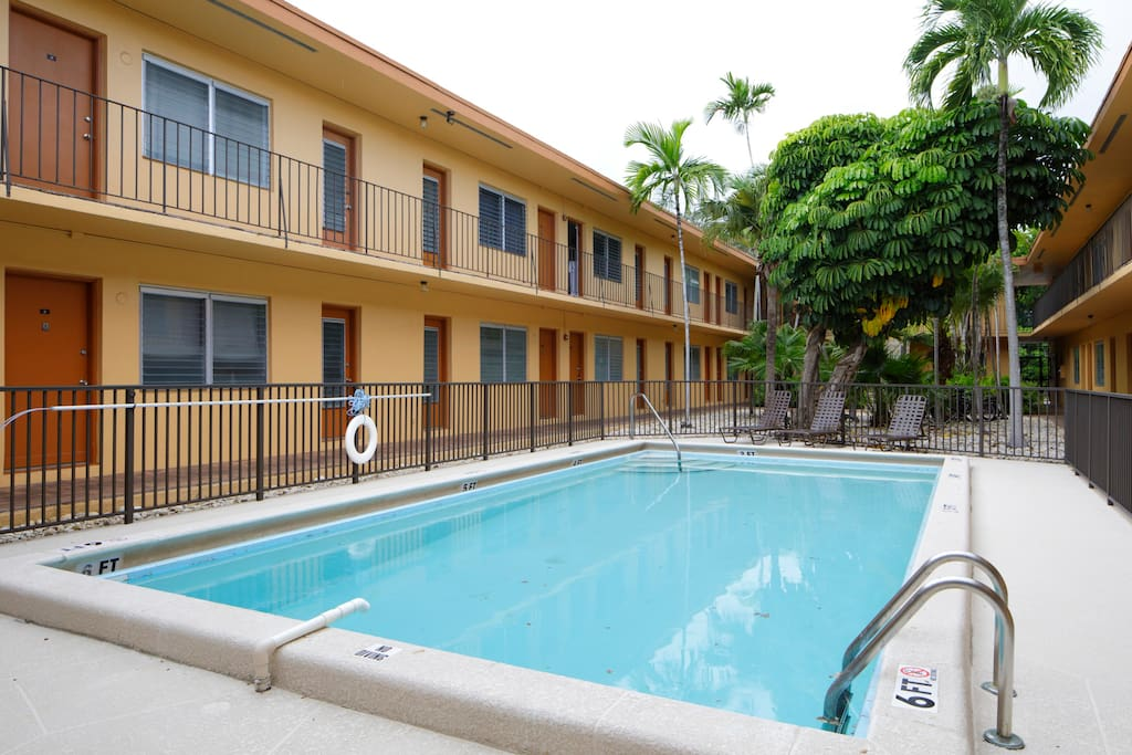 All premises is secured. Perfect time in the summer for the pool. Very chill courtyard, motel feel.