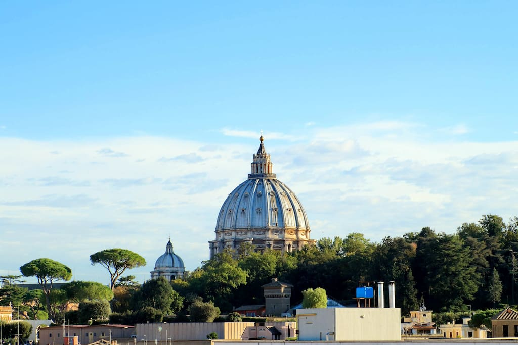 View of St. Peter's dome from the roof terrace.