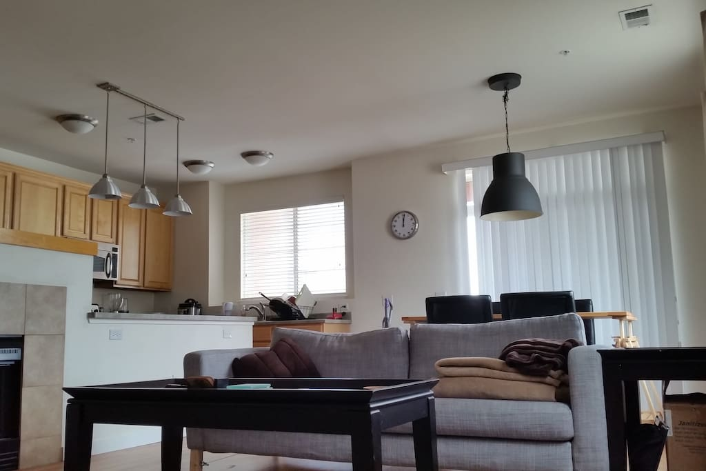 Open loft style. Living room, dinning table, kitchen and half bathroom on main level