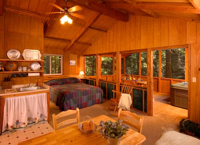 Secluded cabin Near National park with hot tub