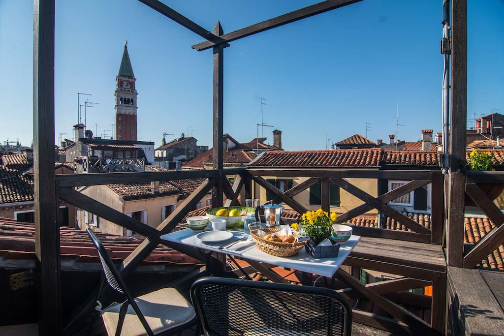 The TERRACE with the view on St. Mark's bell tower