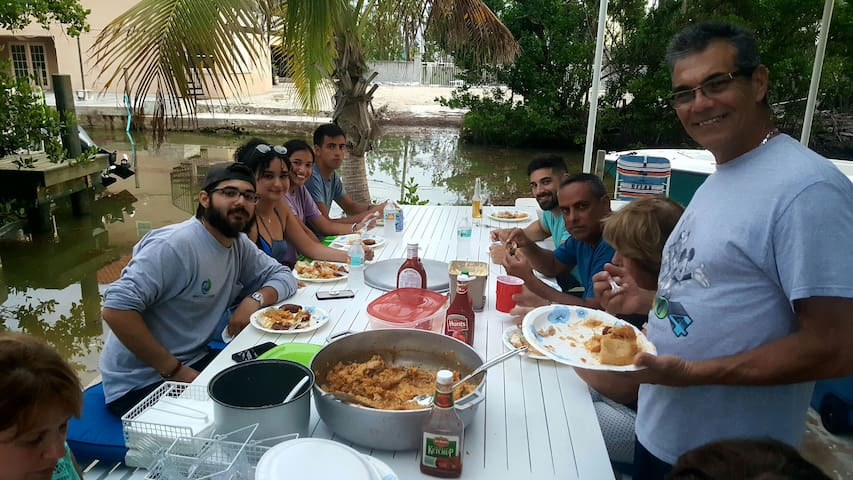 My family enjoying a great outside meal. After an awesome day on the water.