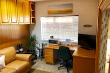 Guest room desk, coffee maker, microwave and mini fridge