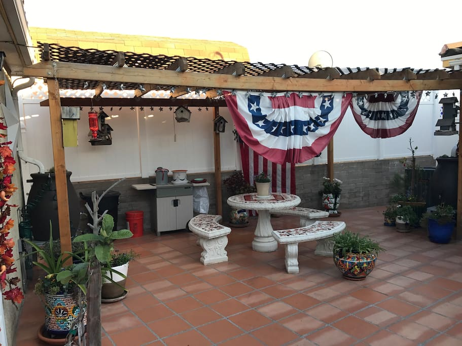 Celebrating July 4th holiday on patio entrance.