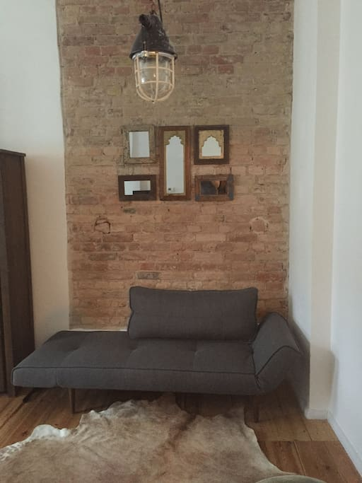 Small sofa can be converted to a second bed (single)