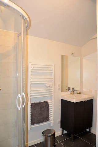 Salle d'eau avec douche.